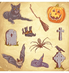 Halloween objects handdrawn color vector image
