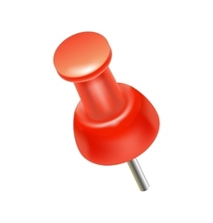 Red push pin icon realistic style vector image