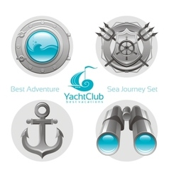 Sea travel icon set with sailing icons porthole vector image