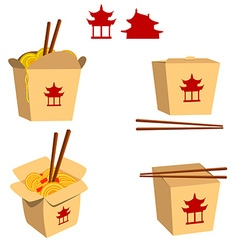 Set of China food boxes isolated on white backgrou vector image
