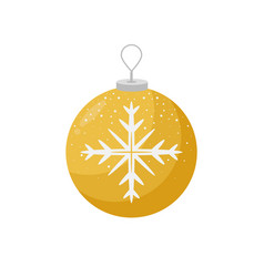 yellow christmas bulb with a snowflake in the vector image