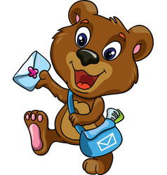 Bear postman on a white background vector image vector image