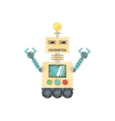 drawing robotic technology bulb display worker vector image