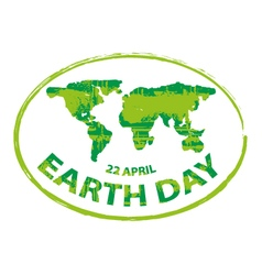 earth day green grunge map stamp style symbol vector image vector image