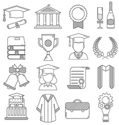 Graduation Linear Icons Set vector image