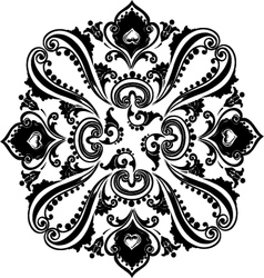 Abstract black floral swirling ornament vector image