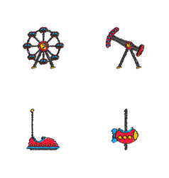 Amusement park icons in hatching style vector