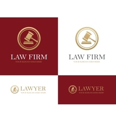 Gavel round logo vector image vector image