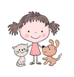 girl kitten puppy 1 vector image