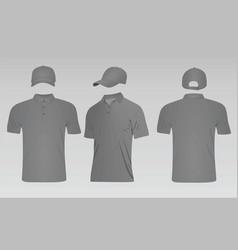 grey baseball cap and polo t shirt vector image