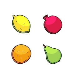 Lemon pear mandarin and garnet set isolated on vector image vector image