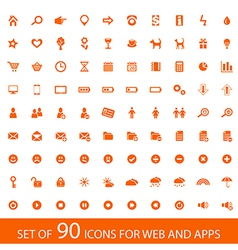 Set of 90 orange icons for web and mobile devices vector image