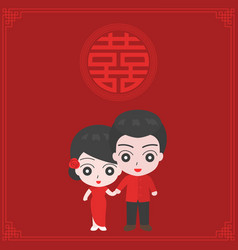 cartoon of couple in chinese tradition dress vector image