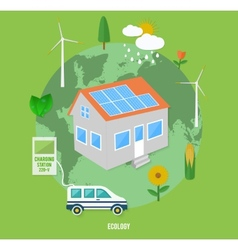 Ecology earth with eco concept item icons vector image