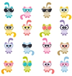 set of colorful cats with sunglasses vector image vector image