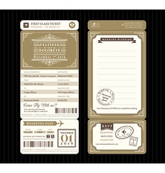 Vintage style Boarding Pass Ticket Wedding card vector image