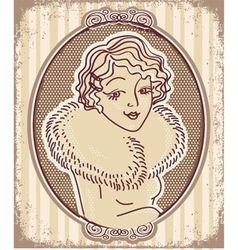 Vintage woman portrait with retro frame vector image vector image