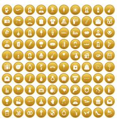 100 wedding icons set gold vector