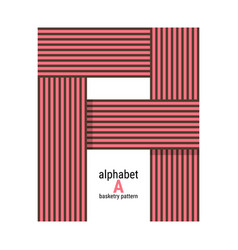 A - unique alphabet design with basketry pattern vector