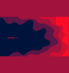 Abstract red color papercut style background vector