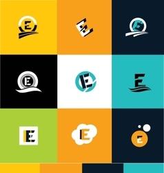 Alphabet letter e ico set logo vector image