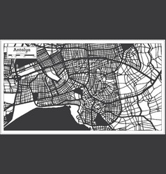 Antalya turkey city map in black and white color vector