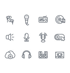 audio icons sound mixing microphones recording vector image