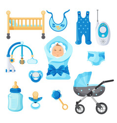 baby boy design elements collection vector image