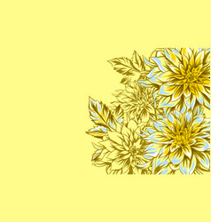 background with fluffy yellow dahlias vector image