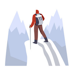 backpacker hiking snowy mountains with trekking vector image