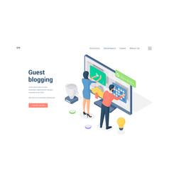 Banner guest blogging website isometric vector