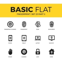Basic set of Fingerprint icons vector image