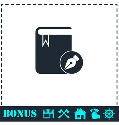 Book write icon flat vector image