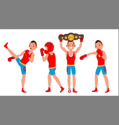 boxer sportsman player boxing different vector image