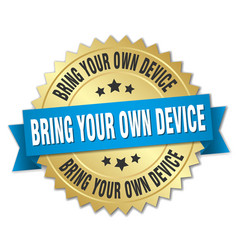 Bring your own device round isolated gold badge vector