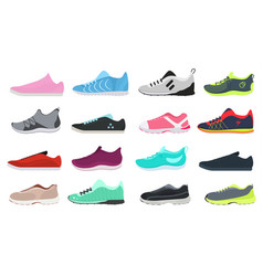 cartoon color different sneakers shoes set vector image