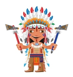 Cartoon fictional character - Indian with axe vector