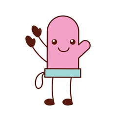 cartoon glove character kitchen icon vector image