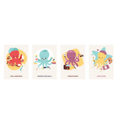 Cartoon multitasking octopuses motivating cards vector