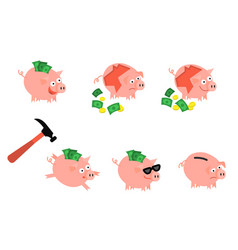 Cartoon piggy bank hummer set vector
