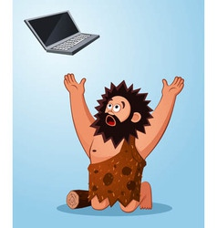 Caveman worshiping a laptop vector