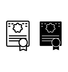 Certificate line and glyph icon diploma vector