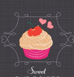 Chalkboard style poster with cupcake vector image