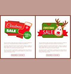 Christmas sale label santa socks gingerbread deer vector