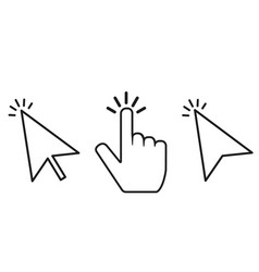 click cursor set mouse cursores with click vector image