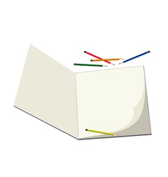 Colored Pencils Lying on A Blank Sketchbook vector image