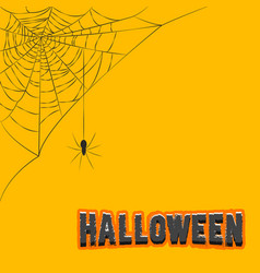 corner decoration hanging spider web halloween vector image