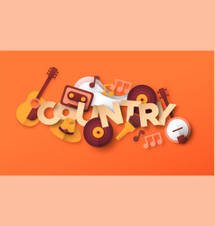 country music paper cut musical icon vector image