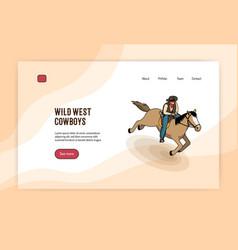 Cowboy isometric web banner vector