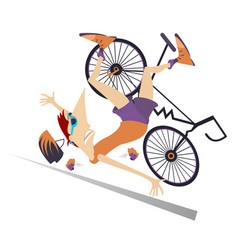 cyclist falling down from the bicycle vector image